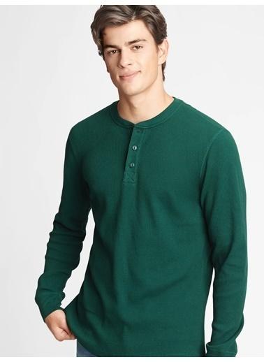 Gap %100 Organik Pamuk Henley Uzun Kollu T-Shirt Yeşil